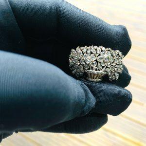 Belle Epoque Silver & Gold Diamond 'Giardinetti' Brooch in original box & papers