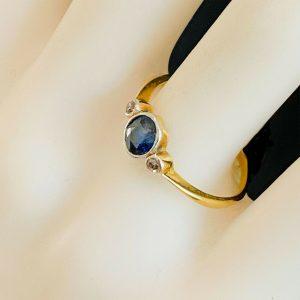 Art Deco, 18ct, 18k, 750 Gold Sapphire & Diamond trilogy engagement Ring, C1930