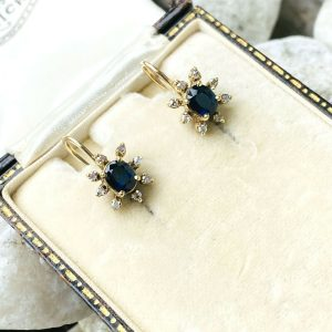 Art Deco 9ct/9k 375 Gold, Sapphire & Diamond cluster earrings with screw fitting