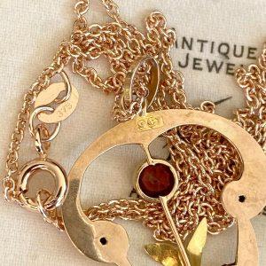 Art Nouveau 9ct, 375 Rose Gold Garnet & Pearl Lavalier, heart Pendant, C1890