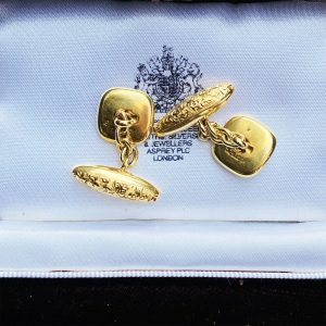 Art Deco, 18ct gold & Platinum, mother of pearl and seed pearl cufflinks, C1930