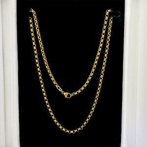 """Vintage 9ct, 9k, 375 Gold belcher link chain, necklace, 23.5"""", 60cm, 27.1grams"""