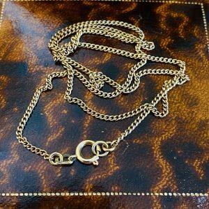"Vintage 9ct, 9k, 375 Gold curb link chain, length 17.5"" / 44.5cm, 3.7 grams"