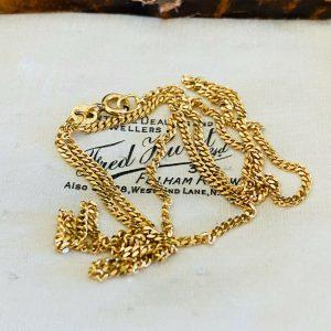 "Vintage 9ct, 9k, 375 Gold curb link chain, length 18"" / 46cm, 3.8 grams"