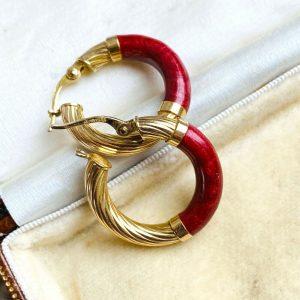 Fabulous pair of 9ct, 9k, 375 Gold & Enamel, round hoop Earrings, 22mm