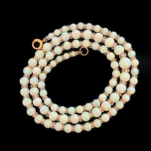 Exquisite, Edwardian Graduated Opal and rock crystal necklace, Circa 1910