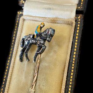 Fine, Edwardian 15ct Gold, Diamond, Ruby & Enamel race horse & Jockey stick pin