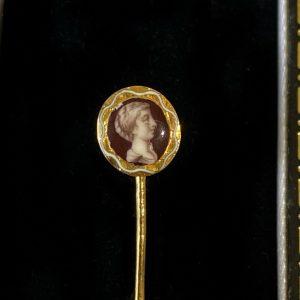 Victorian 18ct, 18k, 750 Gold, Enamel portrait stick,tie,cravat,stock pin,C1890