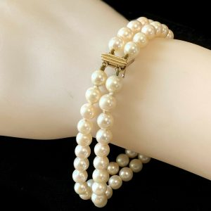 "Gorgeous, Cultured Saltwater 5.5mm Pearl & 14ct bracelet, Lgth: 7"" / 18 cm"