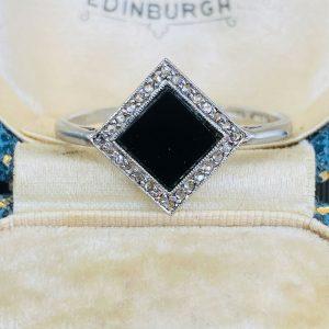 Art Deco, Platinum & 18ct Gold, Black Onyx & Diamond geometric design ring C1920