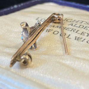 Edwardian, 15ct, 15K, 625 Rose Gold, Silver & Diamond, duck/hen/bird brooch, tie
