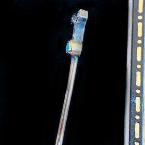 Edwardian 15ct, 15k, 625 Gold Diamond & Turquoise, stick/lapel/tie pin C1901