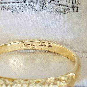 Victorian 18ct, 18k, 750 Gold & Platinum, 5 stone Diamond carved hoop ring,C1890