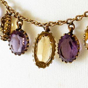 Antique, Victorian 9ct gold Citrine & Amethyst fringe necklace on barrel clasp