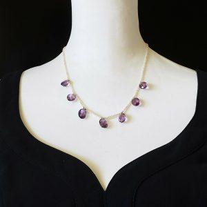 "Edwardian 'Rose de France"" Amethyst & Natural Pearl fringe necklace, 9ct chain"