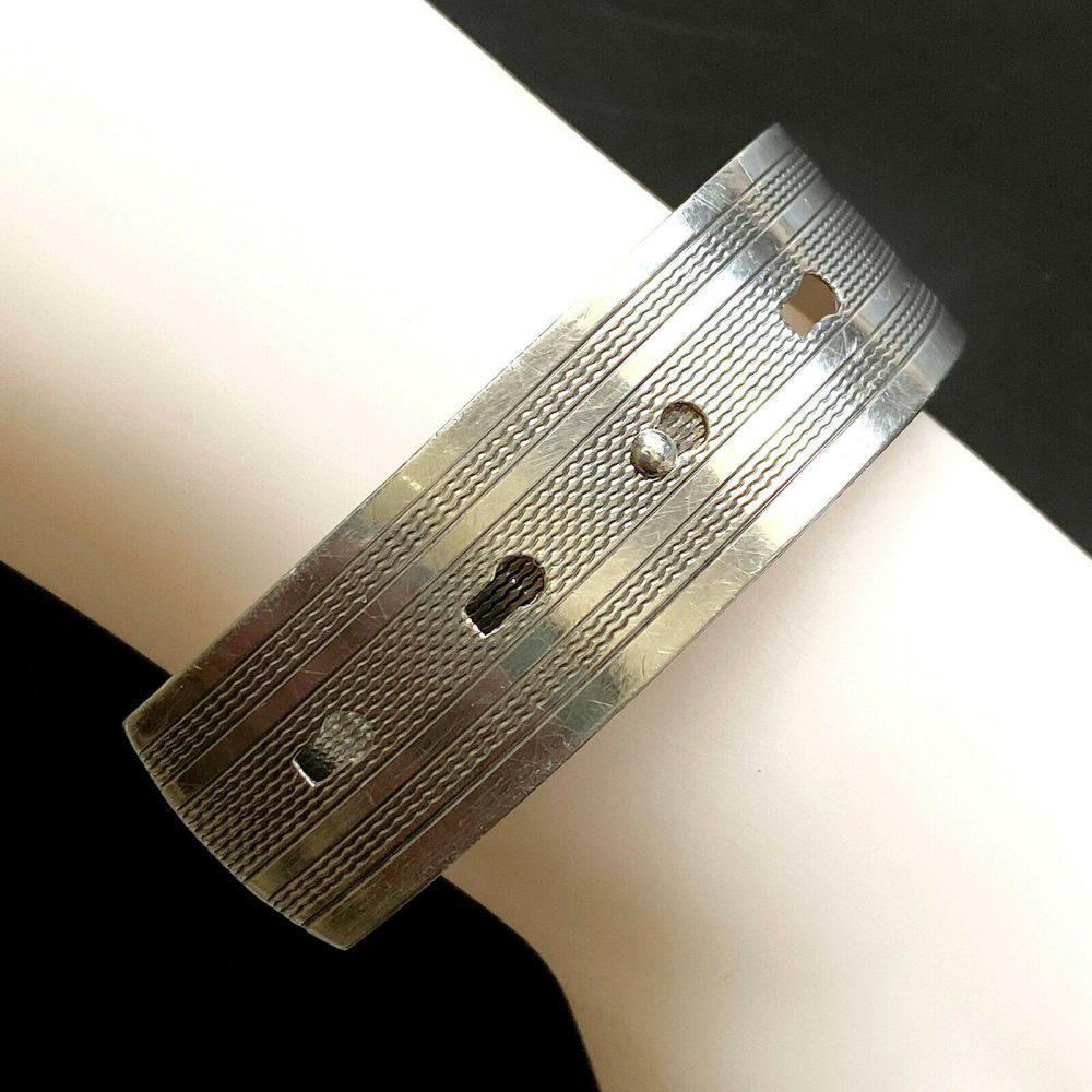 Vintage, Retro Sterling Silver buckle, engraved adjustable bracelet, C1940s