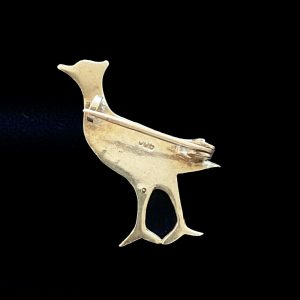 Antique, Victorian French Silver, black dot paste Grouse, bird, brooch. C1880