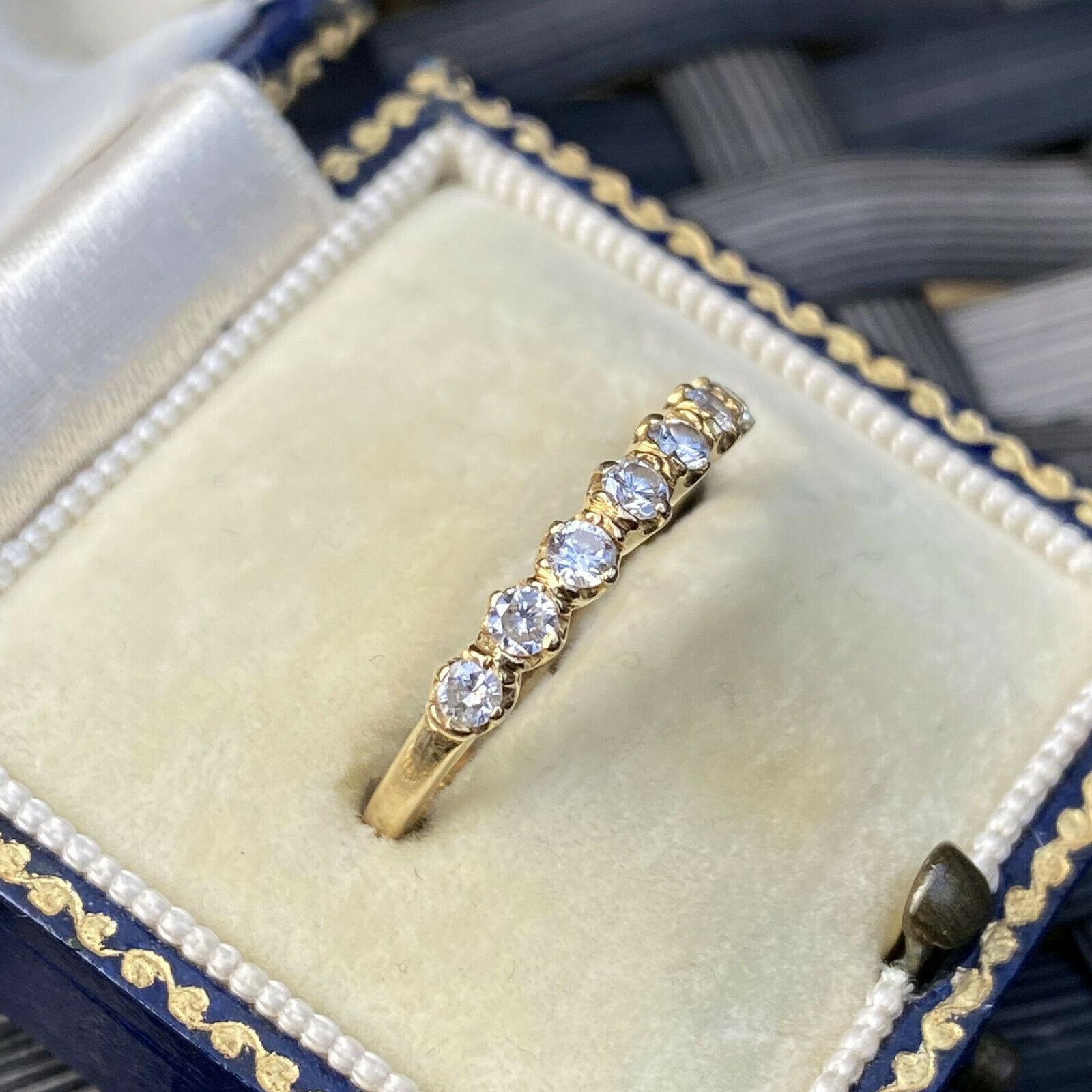 Vintage, 18ct, 18k, 750 Gold Diamond 0.42ct seven stone, eternity, stacker ring