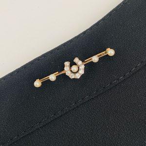 Victorian 18ct/18k Gold, Diamond & Pearl Lucky horse shoe brooch, Circa 1890