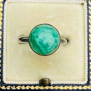 Retro, Vintage Silver green Agate bombe, dress ring, Size: UK: N 1/2 USA: 7