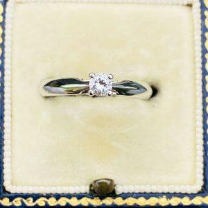 Beautiful, Modern Platinum, PT950, Diamond 0.15ct solitaire engagement ring
