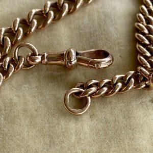 Edwardian 9ct, 9k, 375 Rose Gold curb link bracelet with dog clip fitting