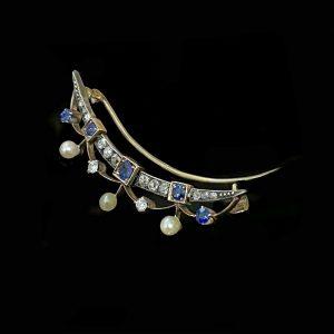 Edwardian 15ct rose Gold Sapphire, Diamond & Pearl Crescent moon brooch, C1901