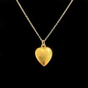 Antique, Edwardian 9ct, 9k, 375 Gold puffy Heart Pendant, by maker FM