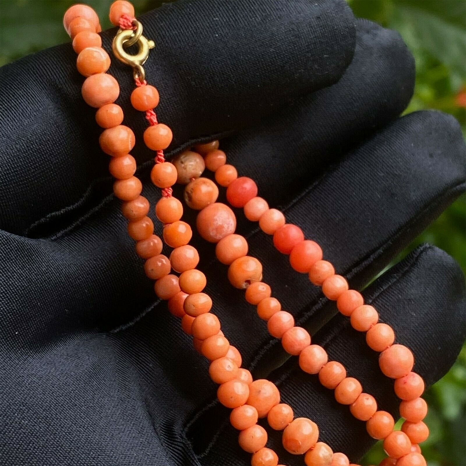 RESERVED - Victorian Natural Salmon Pink Coral Beaded Necklace on 9ct rose gold clasp, 50cm