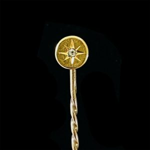 Victorian 15ct, 15k, 625 Gold old-cut Diamond, stick, tie, cravat pin in new box