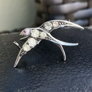 Victorian Silver black dot paste swooping swallow, swift, bird, brooch/pin C1860