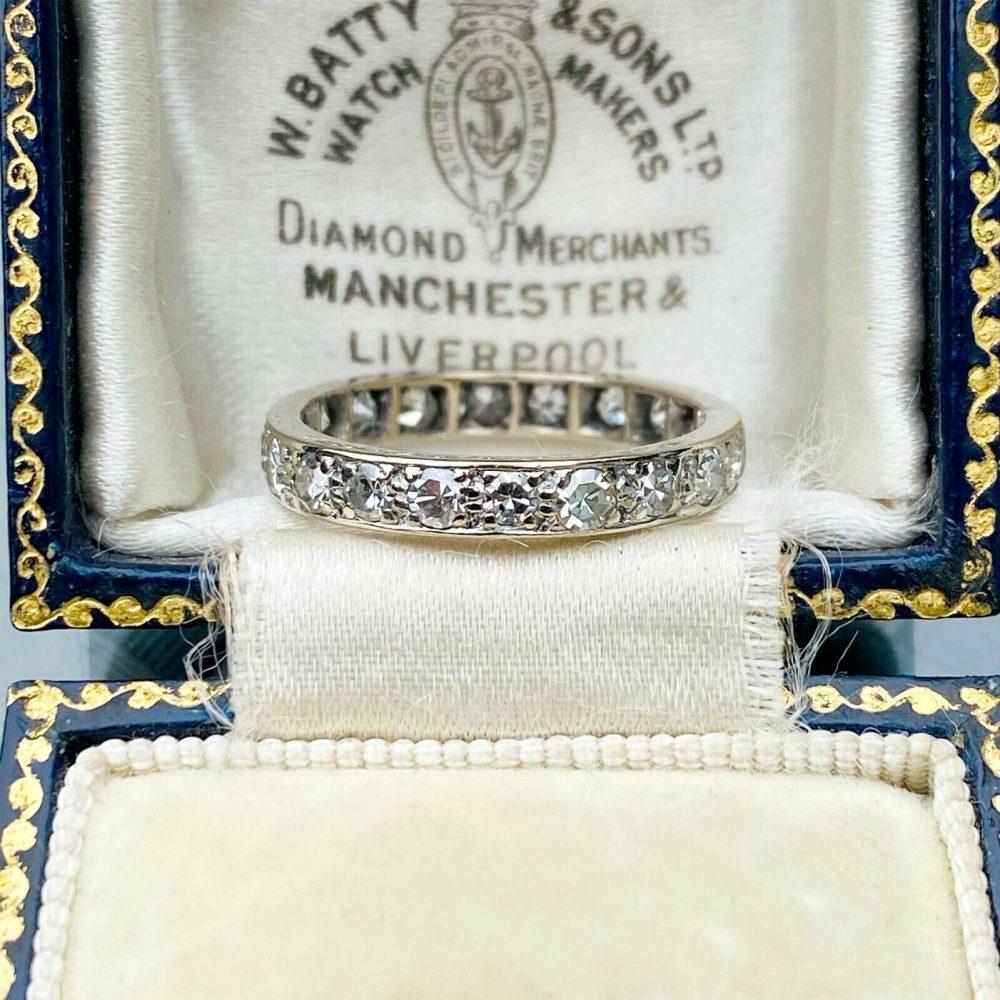 Art Deco 18ct, 18k, 750 White Gold Diamond 0.80ct full eternity ring, Size UK M