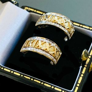 Gorgeous, 9ct Yellow Gold 0.16ct Diamond Roman Numeral Half Hoop Earrings
