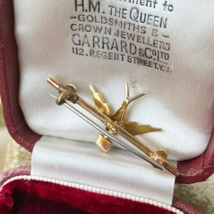 Edwardian 9ct, 9k, 375 Gold Pearl & Turquoise Swallow with ruby letter, brooch