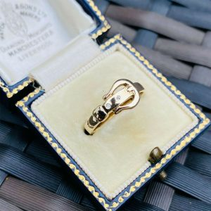 Lovely, 9ct, 9k, 375 Gold Diamond mounted, buckle ring, London 1997