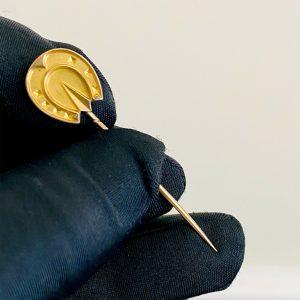 Edwardian 15ct 15k, 625 Gold Equestrian, Lucky Horseshoe Stick, tie, cravat pin