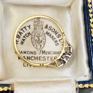 Art Deco 18ct 18k, 750 Gold & Platinum, Diamond solitaire 0.18ct engagement ring