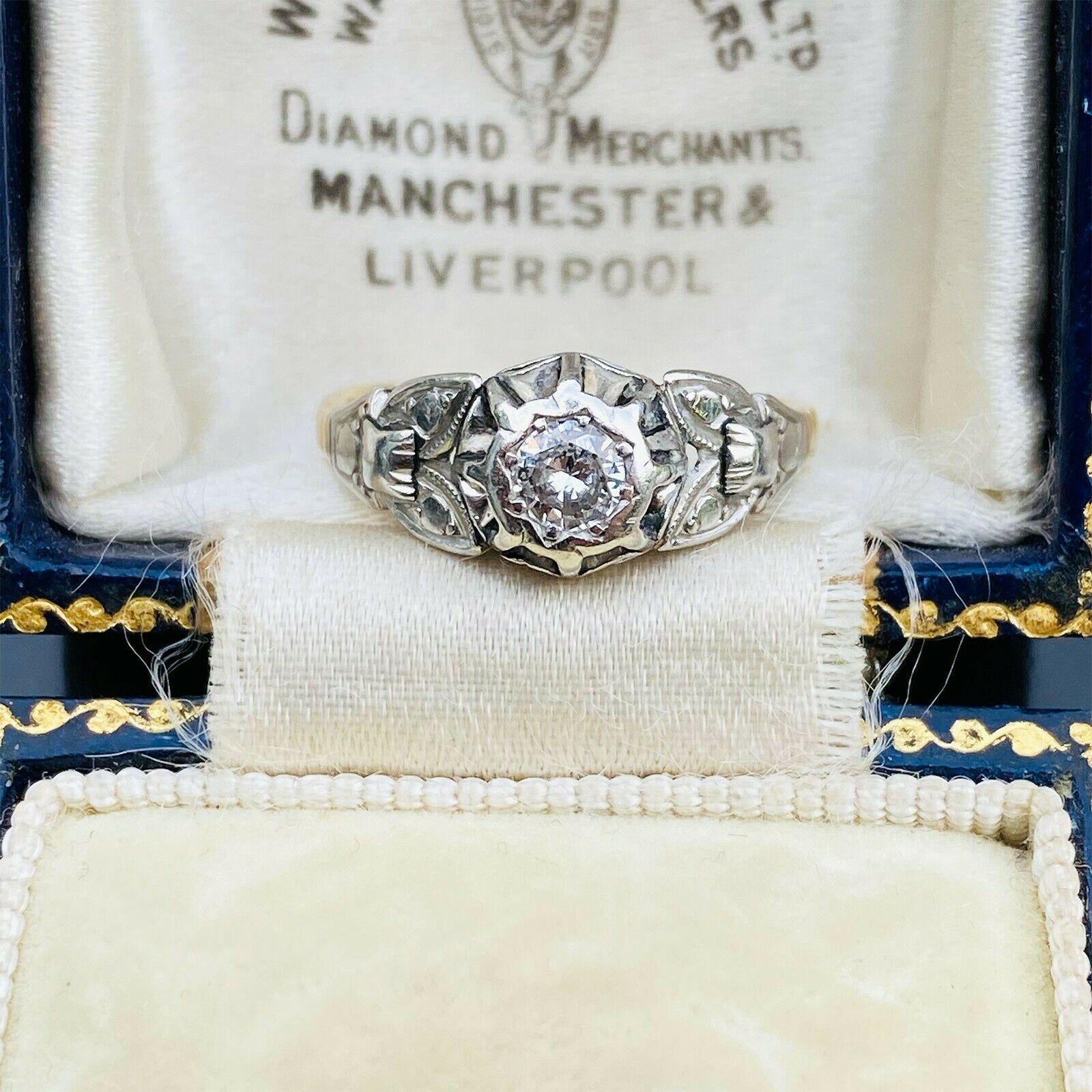 Art Deco 18ct 18k, 750 Gold & Platinum, Diamond solitaire 0.20ct engagement ring