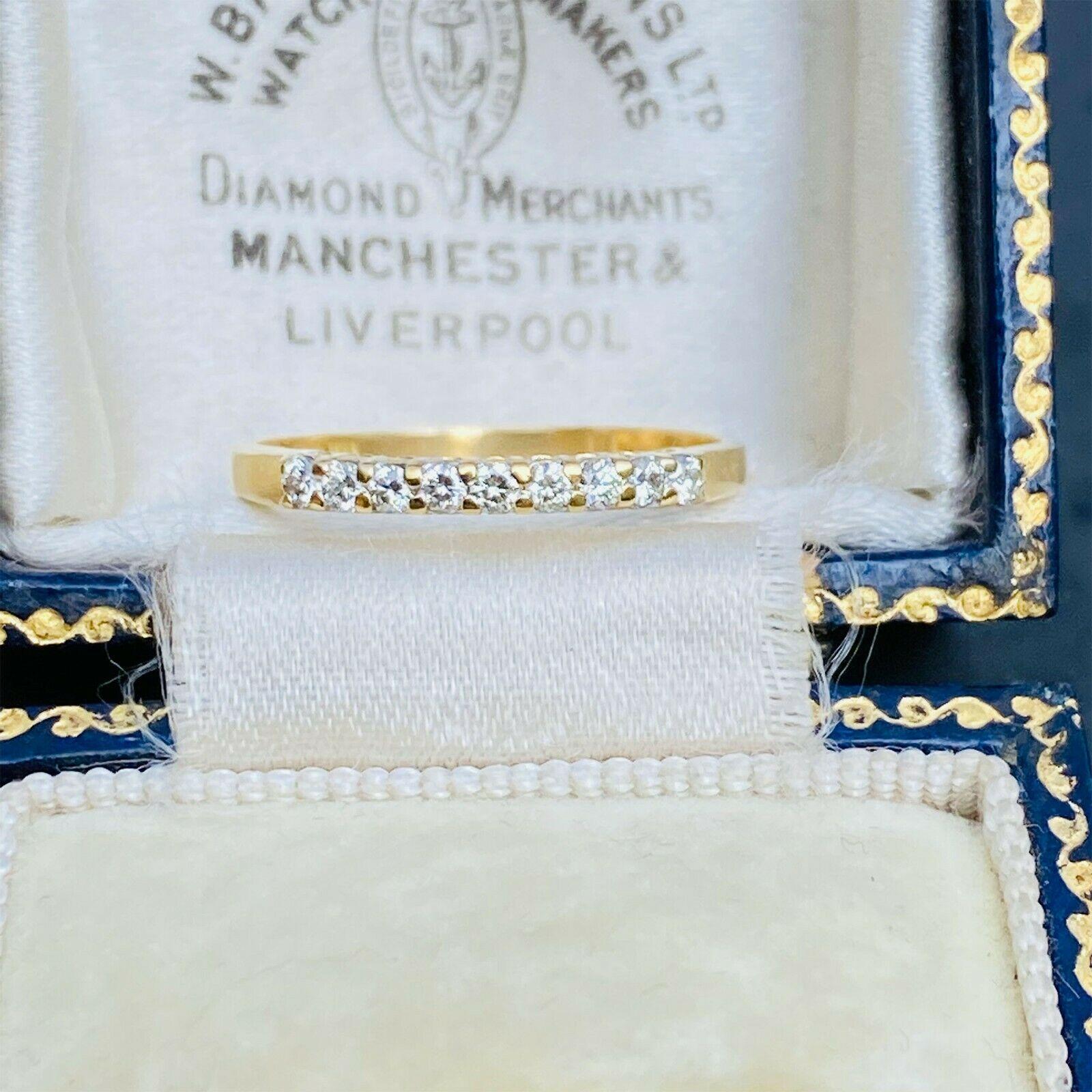 Vintage 18ct, 18k, 750 Gold, Diamond half eternity, anniversary, stacker ring
