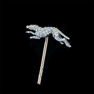 Victorian 15ct Rose Gold, Diamond & Ruby running Greyhound stick, tie pin C1900
