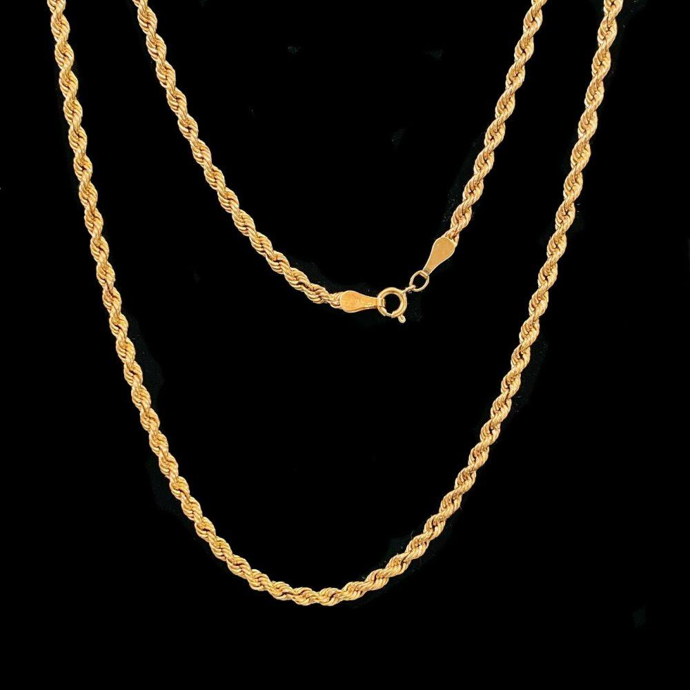 "Vintage 9ct, 9k, 375 Gold rope link chain, necklace, Length 25"" / 64cm"