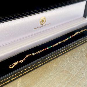 Exquisite, Edwardian, Italian 18ct, 18k, 750 Gold, Enamel baton and Pearl bracelet, Circa 1910