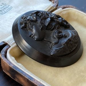 Victorian Whitby Jet high relief, Portrait Cameo of Dionysos the God of wine Brooch, Circa 1880