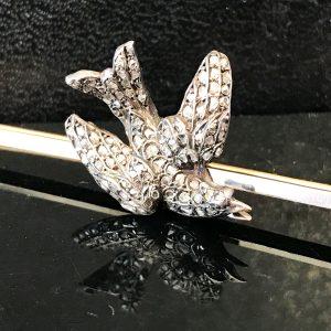 RARE, Fine Edwardian 15ct, 15k, 625 Gold, Silver & Platinum, Diamond and Ruby, bird, bar brooch pin
