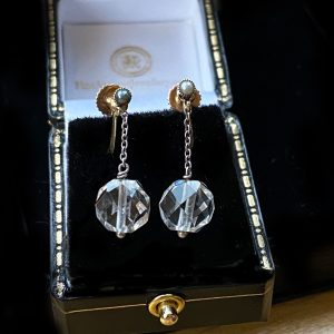 Art Deco pair of 9ct, 9k, 375 Gold, rock Crystal bead & Seed Pearl Earrings with screw fittings, fully hallmarked