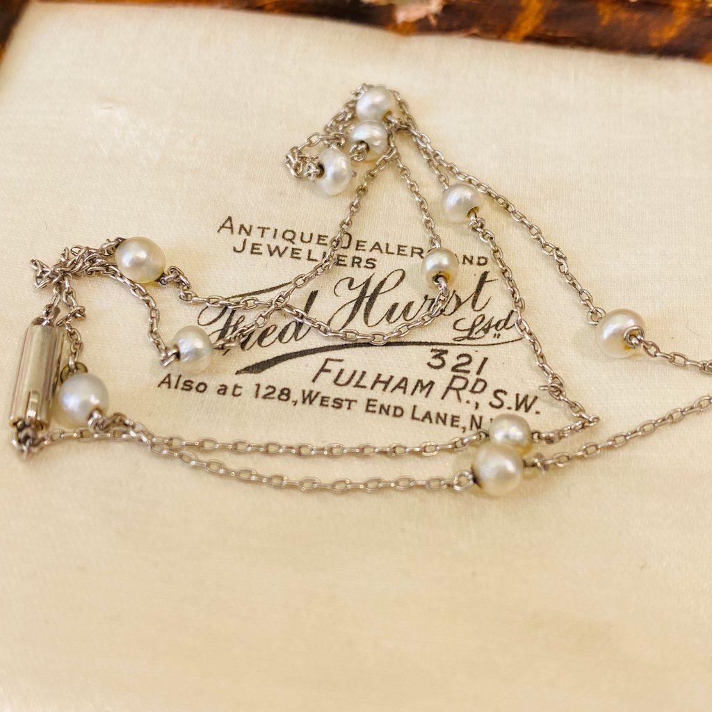 "Antique, Edwardian Platinum & natural Seed Pearl chain, Length: 17"" / 43.5cm, Circa 1905"