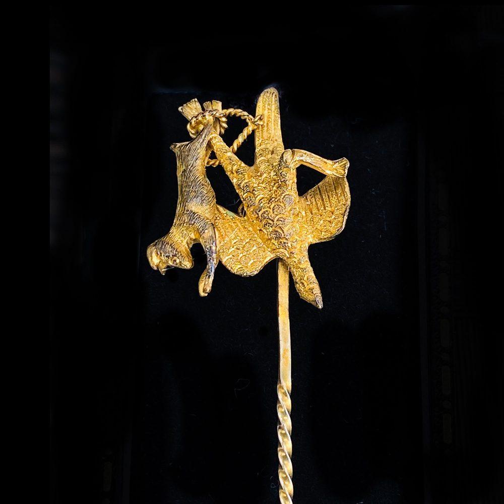 Rare, Victorian 15ct, 15k, 625 Gold pheasant & rabbit hunting, Stick, tie, cravat, lapel pin, Circa 1860