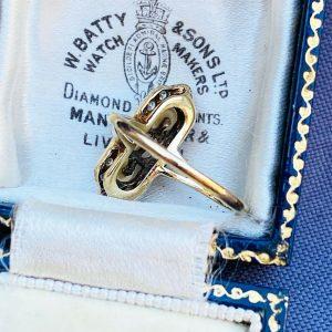 Vintage, 9ct, 9k, 375 Gold Cultured Pearl & Diamond Cluster, dress navette Ring