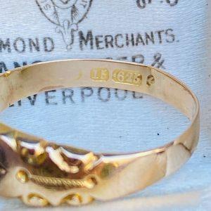 Edwardian 15ct, 15k, 625 Gold Diamond star set, gypsy Ring, Circa 1905