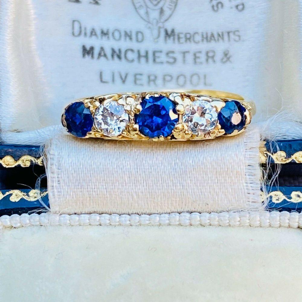 Victorian 18ct, 18k, 750 Gold Old-cut Diamond & Sapphire five stone ring, C1895